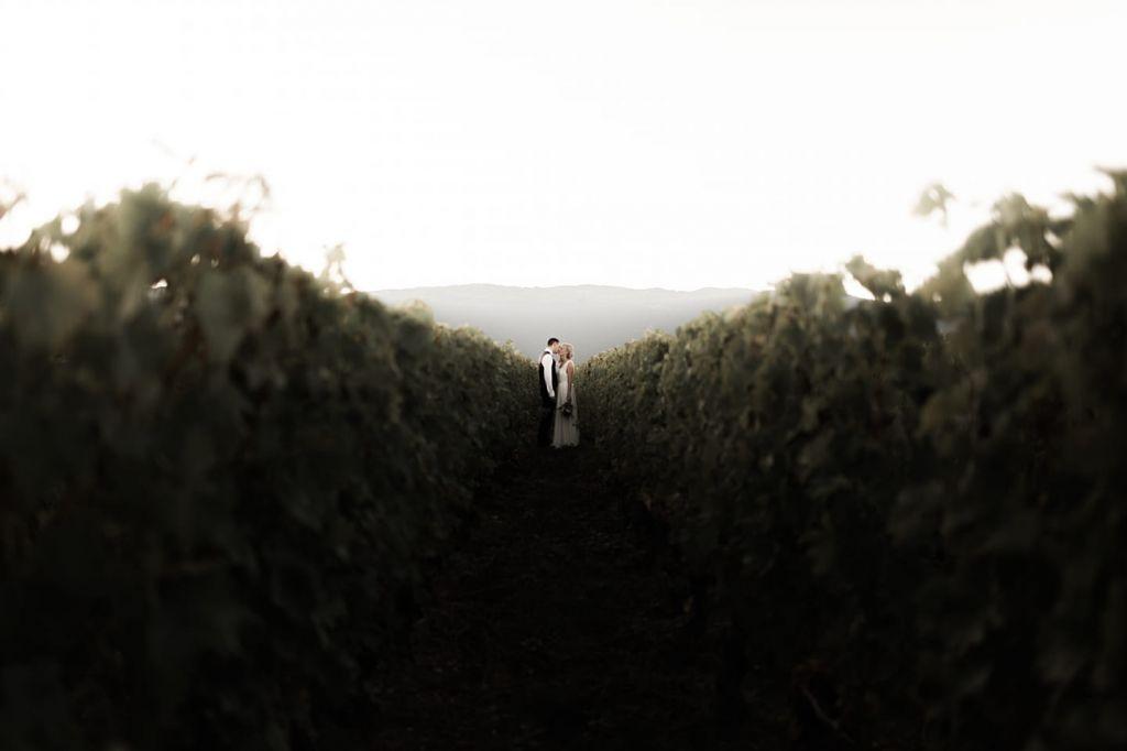 photo de couple minimaliste dans les vignes avec les mariés