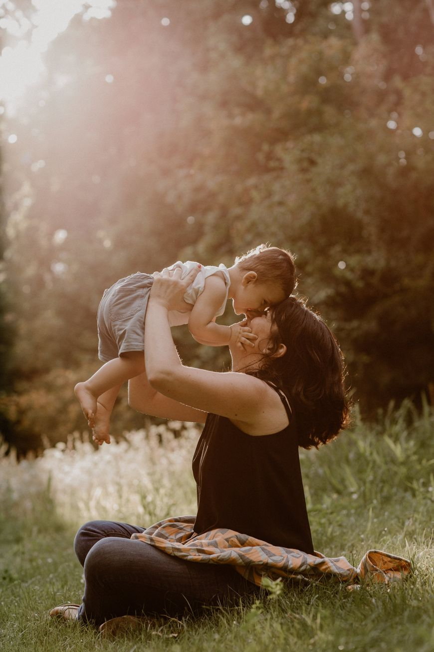 portrait enfant famille mère et bébé couleurs