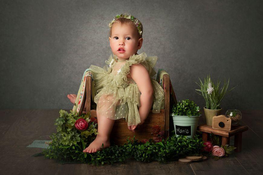portrait enfant bébé fleuri