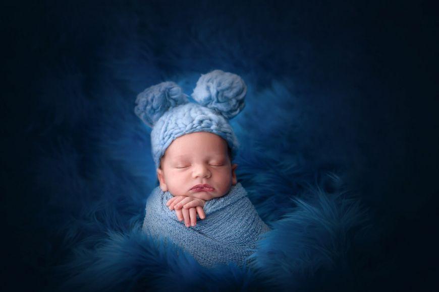 photographe bébé bleu bonnet