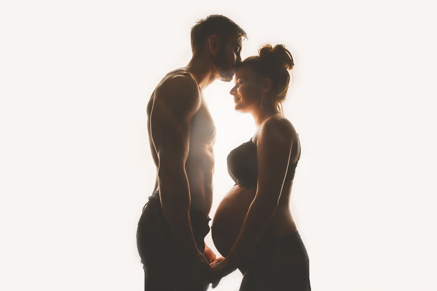 Photo couple femme enceinte